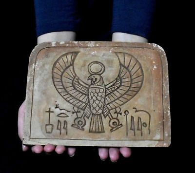 ANCIENT EGYPTIAN EGYPT Limestone Horus plaque  (300-1500 BC)