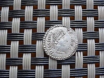 Authentic Late Roman Or Byzantine Silver Coin 1/2 Ar Siliqua With Monogram.