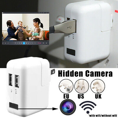 USB Wall Charger WIFI Mini Motion Detection AC Adapter Camera Nanny Cam HD 1080P