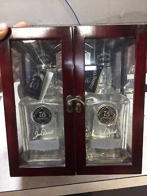 "Jack Daniels ""Prohibition"" Set 70th and 75th anniversary bottles/tags plus case"