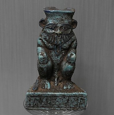 ANCIENT EGYPTIAN EGYPT beautiful faience statue of BES (300-1500 BC)