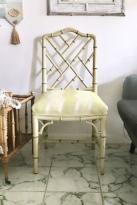 1960s Century Furniture Chinese Chippendale Style Faux Bamboo Chair | Ships Free