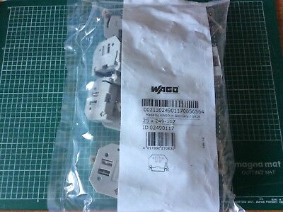 Wago 249-117 screwless end stop, bag of 25, new
