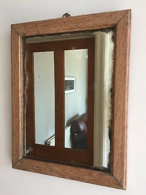 Old Vintage Light Oak Wall Mirror Original Foxed Glass 1940s Heavy Small 35x27cm