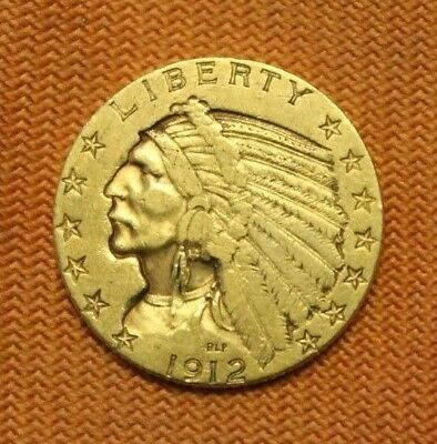 1912-S Gold $5 Indian Head Half Eagle, Better Date, No Reserve