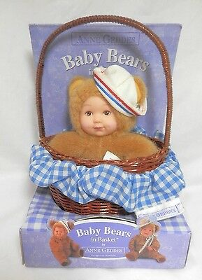 Anne Geddes Baby Bear Doll in Basket NIB - Bear is Wearing Sailor Hat - 2000