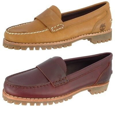 0c43b6d5686 Timberland Sample Women s Heritage Loafer Leather Flat Moc Boat Shoes Us 7  Eu 38