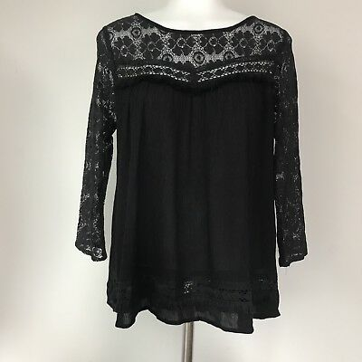 Umgee USA Women's Small Blouse Black Lace Fringe Open Back Top