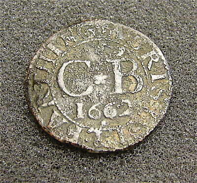 1662 Bristol Town Farthing----Colonial Coin from Old Collection--Nice Details