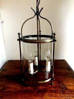 Vintage Antique French Brass & Cylinder Glass Hall Latern