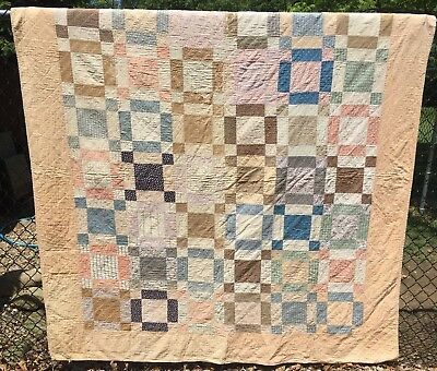 Antique 1800s Quilt ~ Cutter - Stacker - Crafts -  9 Patch - As is