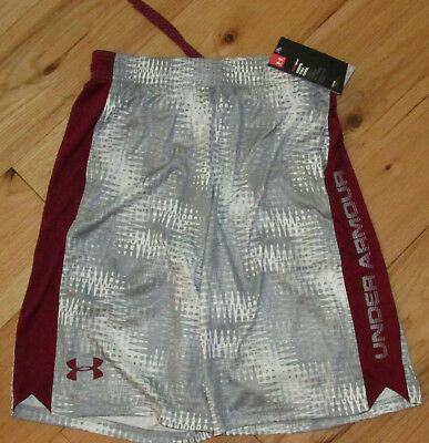 Under Armour gray white crimson patterned Eliminator shorts NWT boys' L YLG