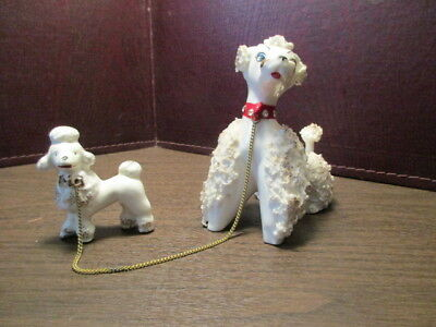 Vintage Ceramic Figurine Mother White Poodle & Puppy - Chained - Red Rhinestone