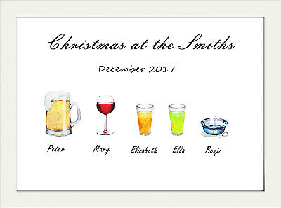 Personalised Christmas A4 Wall Print 280Gsm Satin Paper Family Name Drinks