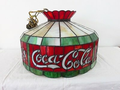 Large Vintage Real Stained Glass Coke Coca Cola Heavy Hanging Light