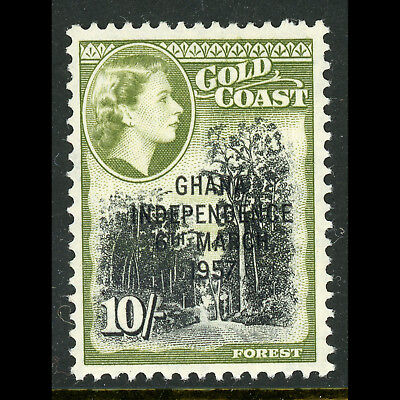 GHANA 1957-58 Independence. 10s Black & Green. SG 181. Mint Never Hinged.(AB680)