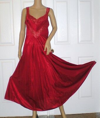 """Long Nightgown RED Large Petra Fashions 150"""" SWEEP lingerie UNWORN Stunning"""