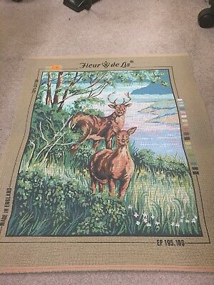 Fleur De Lis Printed Tapestry Canvas EP 195 100 of Stag and Deer