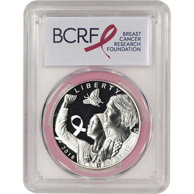 2018-P US Breast Cancer Commem Proof Silver Dollar PCGS PR70 First Strike Pink