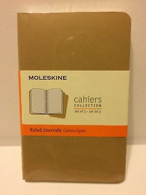 MOLESKINE CAHIERS Collection Ruled Journals SET OF THREE 64 PAGES 3 1/2 X 5 1/2