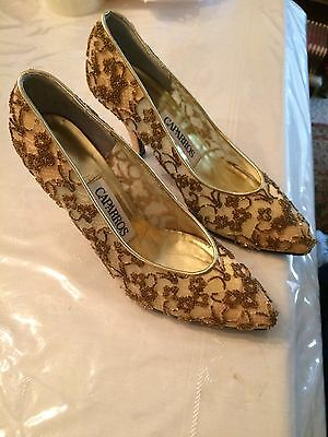 Vintage Caparros Gold Lace Hand Beaded High Heels Size 8