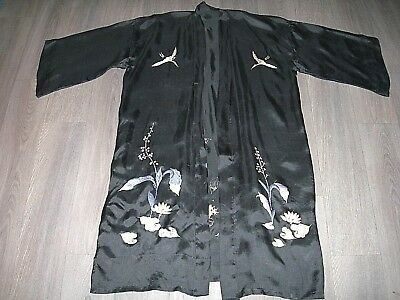 Vintage 20s 30s silky black crane & floral embroidered kimono dressing gown
