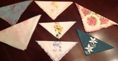 Lot Of 7x Vintage Ladies Spring Handkerchiefs, Floral, Chiffon, Embroideried