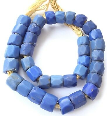 Antique Periwinkle Russian blue faceted African Glass Trade beads