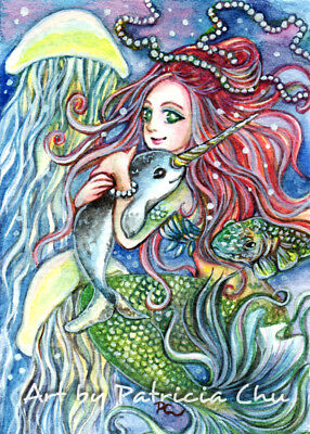 "ACEO LE Art Card Print 2.5x3.5in"" Holding Narwhal Baby "" Mermiad Art by Patricia"