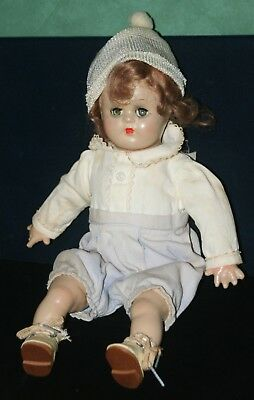 "Vintage 1930's Madame Alexander 'Butch' 11"" Boy  Doll w/ Cap, Shoes, Outfit-"