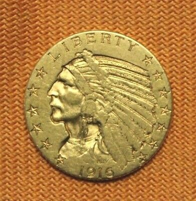 1916-S Gold $5 Indian Head Half Eagle, Better Date, No Reserve