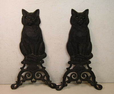 Vintage Pair of Cast Iron Cat Fireplace Andirons Black Green Eyes