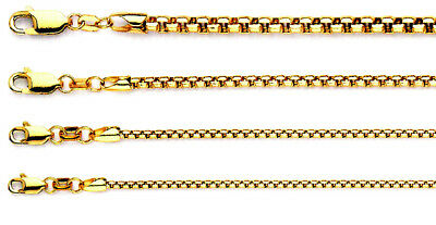 Solid 14K Yellow Gold Round Box DC Chain Necklace