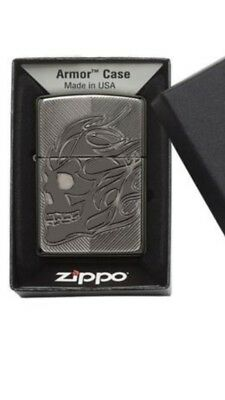 Zippo Armor Windproof Deep Cut Black Ice Lighter With Skull, 29230, New In Box