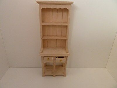 Dolls House Miniature 1:12th Scale Furniture Bare Wood Kitchen Double Dresser