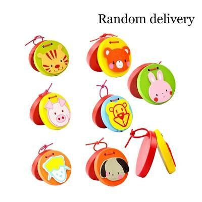 Cartoon Baby Kids Wooden Castanet Clapper Musical Instrument Educational Toy