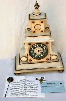 Beautiful 1867 Japy Freres & Cie French Brunet A. Gallardon Alabaster Clock