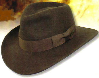 INDIANA JONES Dorfman Pacific MEN s CRUSHABLE WOOL FELT OUTBACK HAT Brown L  New bce191cf70a7