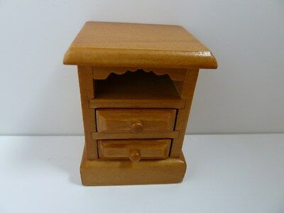 Dolls House Miniature 1:12th Scale Bedroom Furniture Wood Country Pine Bedside
