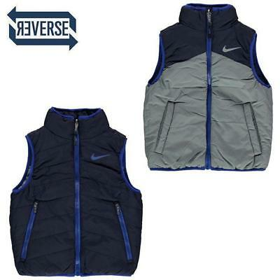 AUTHENTIC NEW Nike Reversible Puffer Vest Gilet Winter Toddler Boys Blue Grey 2