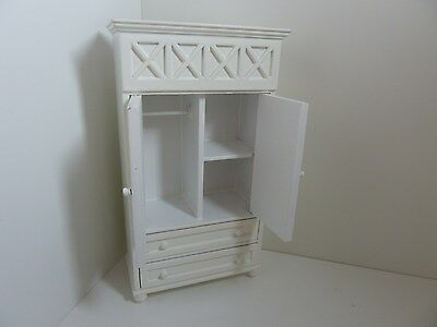 Dolls House Miniature 1.12th Scale Furniture Bedroom Dressing White Wardrobe