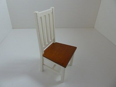 Dolls House Miniature 1:12th Scale Furniture Kitchen Dining White Wood Chair