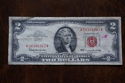 A-82 1963 A American $2 Two Dollar Bill Granahan/Dillon Red Seal