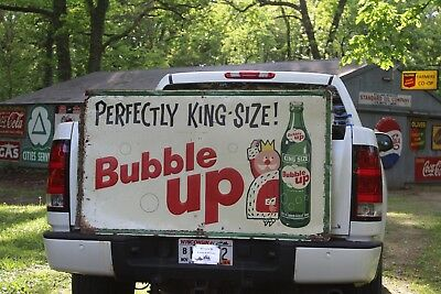 SCARCE 1950's KING SIZE BUBBLE UP COLA SODA EMBOSSED METAL SIGN SEED CORN FARM