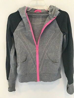 IVIVVA girls size 12 gray hooded zip-up sweat jacket pink lined