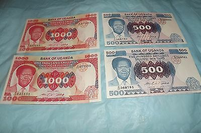 UGANDA 2- [P22] 500 ShILLINGS & [P23] 1000 SHILLINGS Ca. 1983 all CHOICE UNC.
