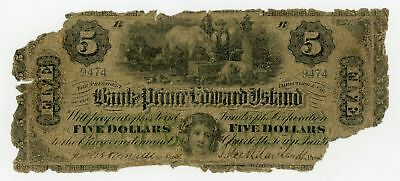 1877 $5 The Bank of Prince Edward Island - Charlotte Town, PEI, CANADA Note