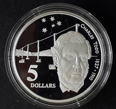 1995 Australia Charles Todd  1oz Silver (92.5%) Proof $5 coin