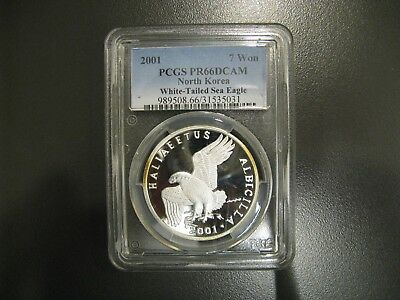 Rare 2001 Korea 7 Won White - Tailed Silver Sea Eagle PCGS Graded PR66 CAM