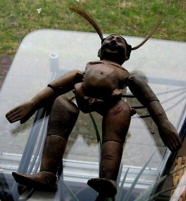 Antique Wood Hand Carved Anatomically Correct Man Doll